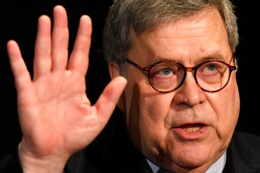 (AP Photo/Susan Walsh, File). FILE - In this Feb. 10, 2020. file photo, Attorney General William Barr speaks at the National Sheriffs' Association Winter Legislative and Technology Conference in Washington. Attorney General William Barr took a public s...