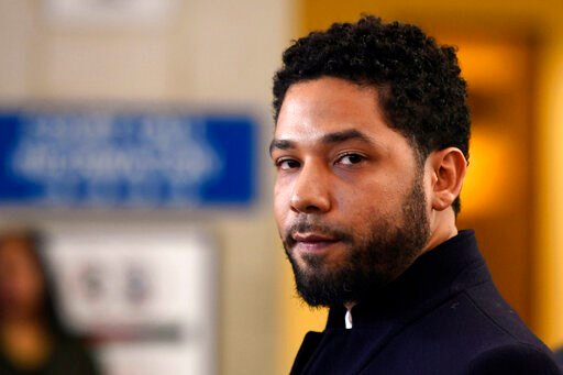 (AP Photo/Paul Beaty, File). FILE - In this March 26, 2019, file photo, actor Jussie Smollett talks to the media before leaving Cook County Court after his charges were dropped in Chicago. A special prosecutor decided to prosecute Smollett again, 11 mo...