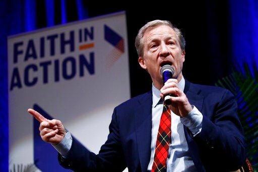 (AP Photo/Patrick Semansky). Democratic presidential candidate, businessman Tom Steyer speaks during a town hall at Faith in Action's 2020 National Faith Forum, Thursday, Feb. 13, 2020, in Las Vegas.