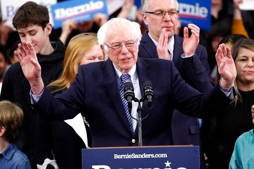 (AP Photo/Pablo Martinez Monsivais). Democratic presidential candidate Sen. Bernie Sanders, I-Vt., speaks to supporters at a primary night election rally in Manchester, N.H., Tuesday, Feb. 11, 2020.