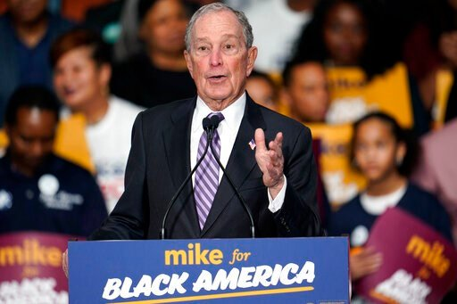 "(AP Photo/David J. Phillip). Democratic presidential candidate and former New York City Mayor Michael Bloomberg speaks during his campaign launch of ""Mike for Black America,"" at the Buffalo Soldiers National Museum, Thursday, Feb. 13, 2020, in Houston."