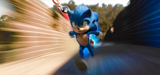 "(Paramount Pictures/Sega of America via AP). This image released by Paramount Pictures shows Sonic, voiced by Ben Schwartz, in a scene from ""Sonic the Hedgehog ."""