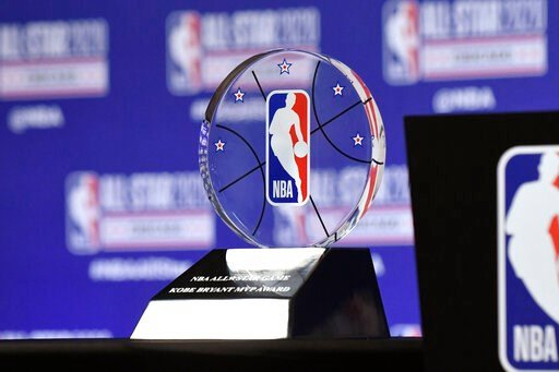 (AP Photo/David Banks). The NBA All-Star Game Kobe Bryant MVP Award is displayed during a news conference Saturday, Feb. 15, 2020, in Chicago.
