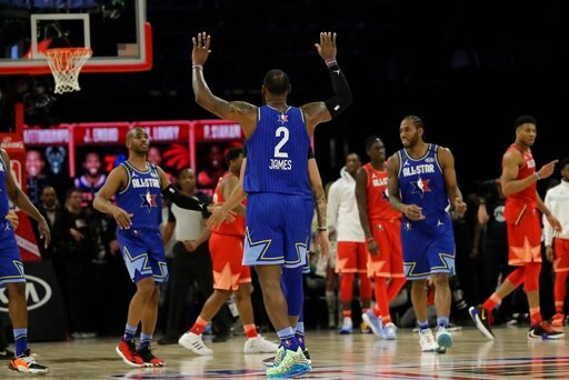 (AP Photo/Nam Huh). LeBron James of the Los Angeles Lakers celebrates during the second half of the NBA All-Star basketball game Sunday, Feb. 16, 2020, in Chicago.