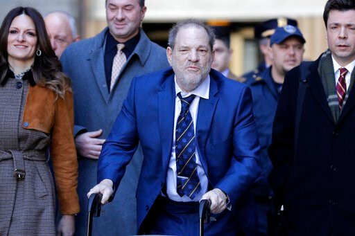 (AP Photo/Seth Wenig). Harvey Weinstein, center, leaves a Manhattan courthouse after closing arguments in his rape trial in New York, Friday, Feb. 14, 2020.