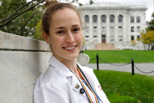 (AP Photo/Steven Senne). In this Thursday, Oct. 17, 2019 photo Harvard Medical School student Aliya Feroe, of Minneapolis, Minn., poses for a photograph on the school's campus, in Boston. Feroe recalls a flustered OB-GYN who referred her to another phy...