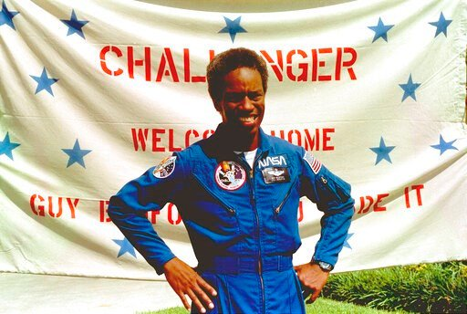 "(AP photo, File). In this Sept. 5, 1983, file photo, Guion Bluford, Jr., shuttle Challenger mission specialist, is shown in portrait on returning to the Johnson Space Center in Houston, Texas. The documentary ""Black in Space: Breaking the Color Barrier..."