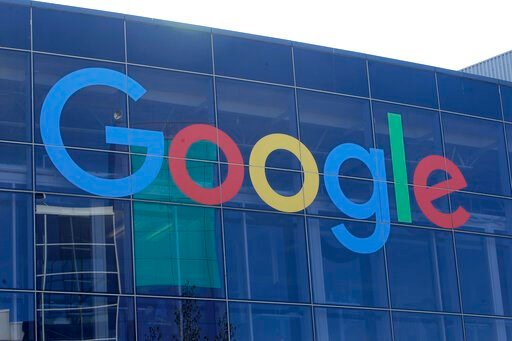 (AP Photo/Jeff Chiu, File). FILE - In a Sept. 24, 2019 file photo, sign is shown on a Google building at their campus in Mountain View, Calif. Google is attempting to make sure people know exactly what they're signing up for when they use its online se...