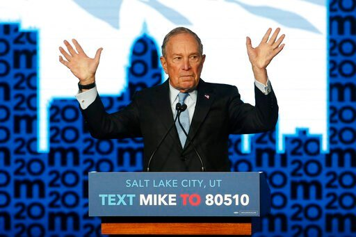(AP Photo/Rick Bowmer). Democratic presidential candidate and former New York City Mayor Mike Bloomberg gestures as he speaks during campaign event, Thursday, Feb. 20, 2020, in Salt Lake City.
