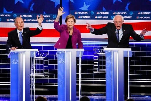 (AP Photo/John Locher). From left, Democratic presidential candidates, former New York City Mayor Mike Bloomberg, Sen. Elizabeth Warren, D-Mass., Sen. Bernie Sanders, I-Vt., participate in a Democratic presidential primary debate Wednesday, Feb. 19, 20...