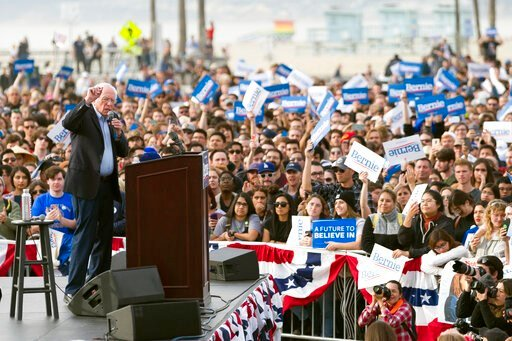(AP Photo/Kelvin Kuo, File). FILE - In this Dec. 21, 2019, file photo, Democratic presidential candidate Sen. Bernie Sanders, I-Vt., speaks during a rally in Venice, Calif. California is the largest prize in the calculations of any Democratic president...
