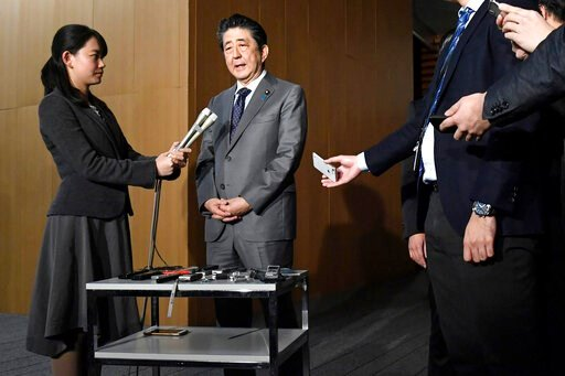 (Yoshitaka Sugawara/Kyodo News via AP). Japan's Prime Minister Shinzo Abe speaks to reporters at his prime minister's official residence in Tokyo, Feb. 21, 2020. Prime Minister Shinzo Abe should be basking in the limelight this year in the run-up to th...