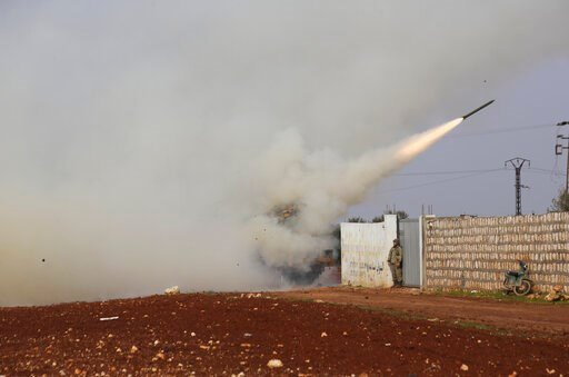 (AP Photo/Ghaith Alsayed, File). FILE - In this Feb. 14, 2020, file photo Turkish soldiers fire a missile at Syrian government position in the province of Idlib, Syria. Syria's civil war has long provided a free-for-all battlefield for proxy fighters. ...