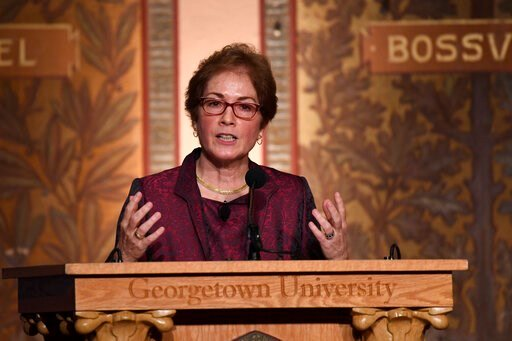 """(AP Photo/Susan Walsh). Former Ambassador to Ukraine Marie Yovanovitch speaks at Georgetown University in Washington, Wednesday, Feb. 12, 2020. She was awarded the 2020 J. Raymond """"Jit"""" Trainor Award for Excellence in the Conduct of Diplomacy."""