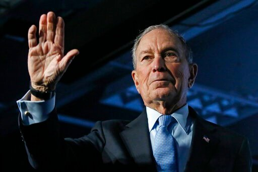 (AP Photo/Rick Bowmer). Democratic presidential candidate and former New York City Mayor Mike Bloomberg waves after speaking at a campaign event, Thursday, Feb. 20, 2020, in Salt Lake City.