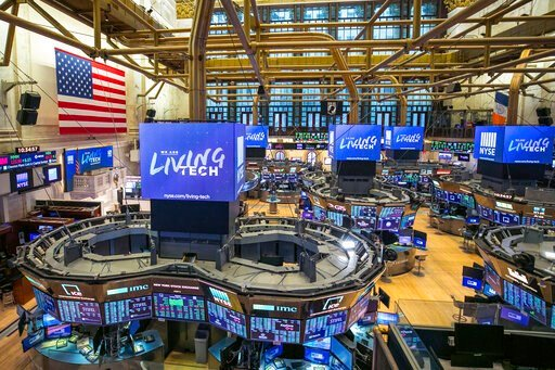 (Kearney Ferguson/NYSE via AP). This photo provided by the New York Stock Exchange shows the unoccupied NYSE trading floor, closed temporarily for the first time in 228 years as a result of coronavirus concerns, Tuesday March 24, 2020.