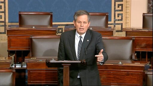 (Senate Television via AP). In this image from video, Sen. Steve Daines, R-Mont., speaks on the Senate floor at the U.S. Capitol in Washington, Tuesday, March 24, 2020.