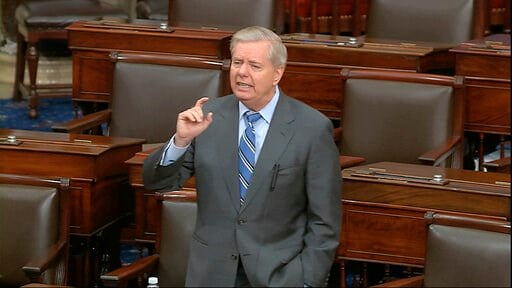 (Senate Television via AP). In this image from video, Sen. Lindsey Graham, R-S.C., speaks on the Senate floor at the U.S. Capitol in Washington, Tuesday, March 24, 2020.