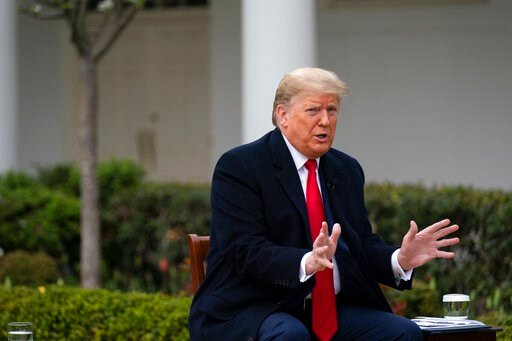 (AP Photo/Evan Vucci). President Donald Trump speaks during a FOX News Channel virtual town hall with members of the coronavirus task force, in the Rose Garden at the White House, Tuesday, March 24, 2020, in Washington.