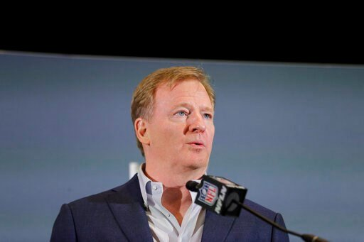 (AP Photo/Brynn Anderson). NFL Commissioner Roger Goodell speaks during a news conference, Monday, Feb. 3, 2020, in Miami, the day after the Kansas City Chiefs defeated the San Francisco 49ers in Super Bowl 54.