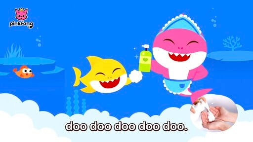 """(Pinkfong via AP). This image released by Pinkfong shows. scene from the modified """"Baby Shark"""" video, reworked to teach kids good hygiene to combat COVID-19. The company has debuted the """"Wash Your Hands With Baby Shark"""" video and now has started a danc..."""
