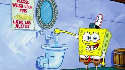 "(Nickelodeon via AP). This image released by Nickelodeon shows animated character SpongeBob SquarePants demonstrating effective handwashing in a video to be shown on Nickelodeon's cable and digital platforms. Nickelodeon is airing a special with a ""kid..."