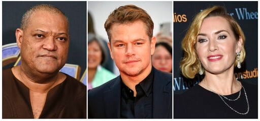 """(AP Photo). This combination photo shows actors, from left, Laurence Fishburne, Matt Damon and Kate Winslet, who are among the stars of the 2011 thriller """"Contagion"""" who have reunited for a series of public service announcements to warn about COVID-19...."""