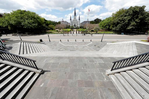 (AP Photo/Gerald Herbert). Jackson Square, normally bustling with tourists, is seen deserted in the French Quarter of New Orleans, due to the new coronavirus pandemic, Friday, March 27, 2020. While rich in history and culture, New Orleans is economical...
