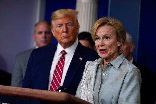 (AP Photo/Evan Vucci, File). FILE - In this March 20, 2020, file photo President Donald Trump listens as White House coronavirus response coordinator Dr. Deborah Birx speaks during a coronavirus task force briefing at the White House in Washington. Bir...