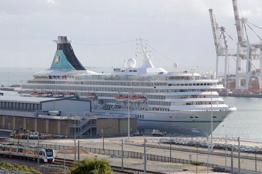 (Richard Wainwright/AAP Image via AP). This Friday, March 27, 2020, photo shows the cruise ship Artania docked at Fremantle harbour in Fremantle, Australia. Authorities were still hoping to fly 800 cruise ship passengers from Australia to Germany on th...