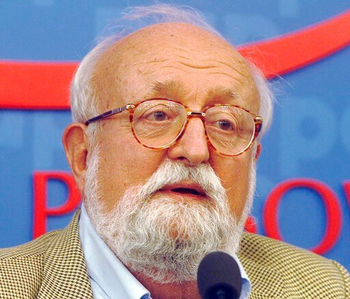 "(AP Photo/Czarek Sokolowski, File). FILE - In this Sept. 16, 2013, file photo, Polish composer Krzysztof Penderecki tells a news conference in Warsaw, Poland. Sources close to the family say that Penderecki died Sunday at the age of 86 after a ""long an..."