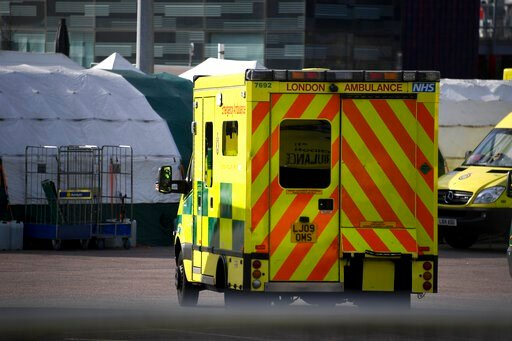 (AP Photo/Alberto Pezzali). Ambulances and camp tents are seen outside the Excel in London, Saturday, March 28, 2020.The British Government announced Tuesday, that the ExCel Center in east London will become a 4,000 bed temporary hospital to deal with ...