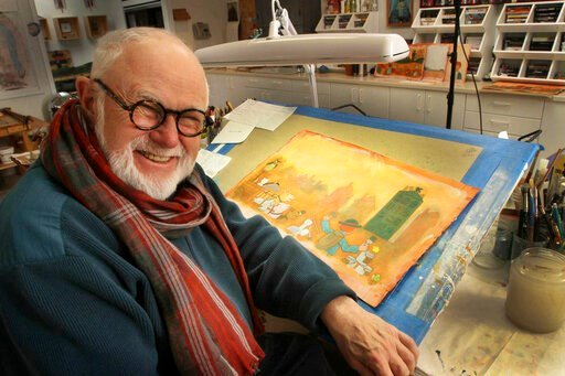 (AP Photo/Jim Cole, File). In this photo taken Sunday Dec. 1, 2013, Tomie dePaola poses with his artwork in his studio in New London, N.H. The beloved children's author and illustrator has died at the age of 85. DePaola delighted generations with tales...
