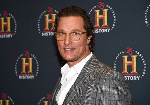"(Photo by Evan Agostini/Invision/AP, File). FILE - In this Feb. 29, 2020, file photo, Matthew McConaughey attends A+E Network's ""HISTORYTalks: Leadership and Legacy"" in New York. McConaughey has gone from advertising for driving to selling people on st..."