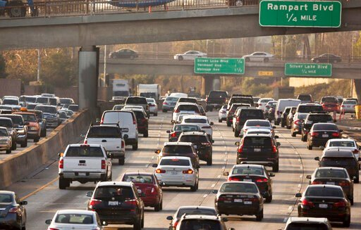(AP Photo/Damian Dovarganes, File). FILE - This Dec. 12, 2018, file photo shows traffic on the Hollywood Freeway in Los Angeles. President Donald Trump's is expected to mark a win in his two-year fight to gut one of the United States' single-biggest ef...