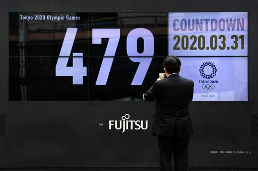 (AP Photo/Jae C. Hong). A man takes pictures of a countdown display for the Tokyo 2020 Olympics and Paralympics Tuesday, March 31, 2020, in Tokyo.  The countdown clock is ticking again for the Tokyo Olympics. They will be July 23 to Aug. 8, 2021. The c...