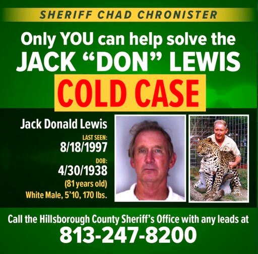 """(Hillsborough County Sheriff Chad Chronister via AP). This notice posted on the Twitter account of Hillsborough County Sheriff Chad Chronister on Monday, March 30, 2020, seeks the public's help for new leads in the disappearance of Jack """"Don"""" Lewis, th..."""