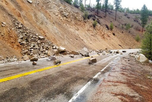 (Tyler Beyer via AP). This photo provided by Tyler Beyer shows a rockslide on Highway 21 near Lowman, Idaho, after a magnitude 6.5 earthquake struck Tuesday, March 31, 2020. The earthquake struck north of Boise, Idaho, Tuesday evening, with people acro...