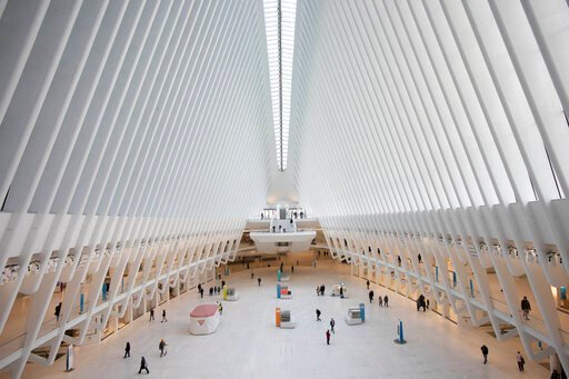(AP Photo/Mark Lennihan, File). FILE - This March 16, 2020, file photo shows the Oculus at the World Trade Center's transportation hub in New York. Census Day, the April 1 reference day for the once-a-decade effort to count everyone in the U.S., arrive...