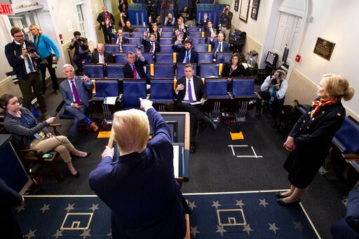 (AP Photo/Alex Brandon). President Donald Trump points to a reporter to ask a question as he speaks about the coronavirus, with Dr. Deborah Birx, White House coronavirus response coordinator, at right, in the James Brady Press Briefing Room of the Whit...