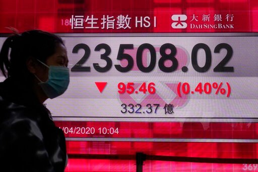 (AP Photo/Vincent Yu). A woman wearing a face mask walks past a bank's electronic board showing the Hong Kong share index at Hong Kong Stock Exchange Wednesday, April 1, 2020. Asian shares were mixed Wednesday, on continuing worries about the economic ...