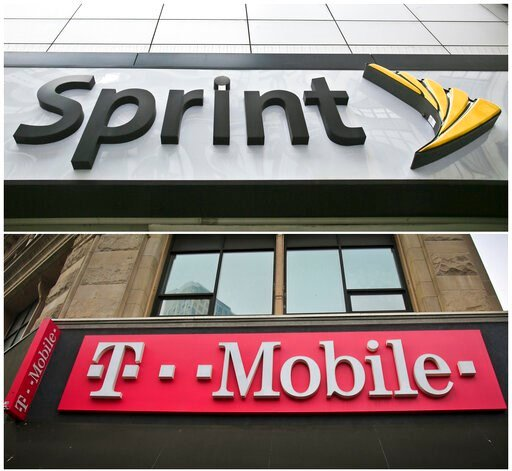 (AP Photo/Bebeto Matthews, File). FILE - This combination of April 30, 2018, file photos shows signage for a Sprint store in New York's Herald Square, top, and signage at a T-Mobile store in New York.  Mobile carrier T-Mobile has completed its takeover...