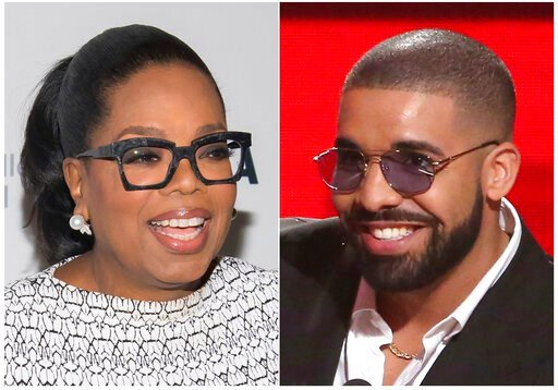 (Photos by Charles Sykes, left, and Matt Sayles/Invision/AP). This combination photo shows Oprah Winfrey at The Museum of Modern Art's David Rockefeller Award Luncheon honoring Oprah Winfrey  in New York on March 6, 2018, left, and Drake accepting the ...