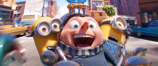 """(Illumination Entertainment and Universal Pictures via AP). This image released by Illumination Entertainment and Universal Pictures shows characters, from left, Kevin, Gru, voiced by Steve Carell and Stuart in a scene from """"Minions: The Rise of Gru."""" ..."""