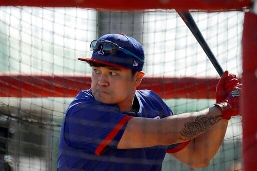 (AP Photo/Charlie Riedel). Texas Rangers' Shin-Soo Choo bats during spring training baseball practice Monday, Feb. 17, 2020, in Surprise, Ariz.