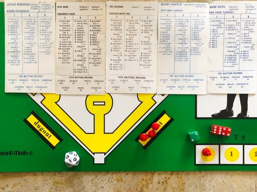 (AP Photo/Dan Sewell). In this April 1, 2020, photo, AP correspondent Dan Sewell in Cincinnati plays in a tournament at home using the Strat-O-Matic baseball board game while self-isolating due to the coronavirus outbreak. With no real baseball being p...