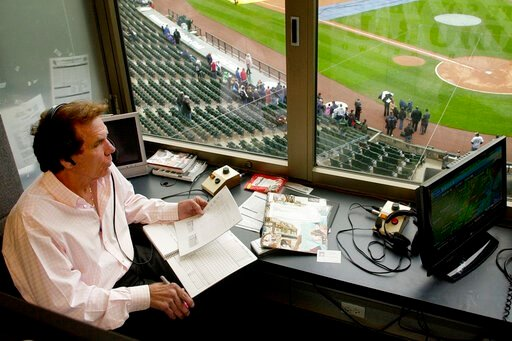 (Rich Hein/Chicago Sun-Times via AP, File). In this April 28, 2008, photo, radio broadcaster Ed Farmer is shown in the broadcast booth before a baseball game between the Baltimore Orioles and Chicago White Sox in Chicago. Farmer, a former All-Star reli...