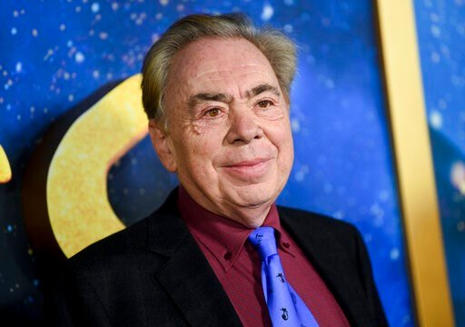 "(Photo by Evan Agostini/Invision/AP, FIle). FILE - This Dec. 16, 2019 file photo shows composer and executive producer Andrew Lloyd Webber attending the world premiere of ""Cats""  in New York. Webber is making some of his filmed musicals available for f..."