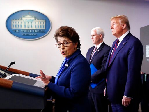 (AP Photo/Alex Brandon, File). FILE - In this Thursday, April 2, 2020 file photo, Jovita Carranza, administrator of the Small Business Administration, speaks about the coronavirus in the James Brady Press Briefing Room of the White House n Washington, ...