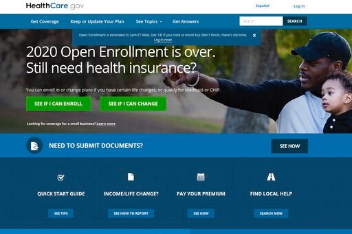 (Centers for Medicare and Medicaid Services via AP, File). FILE - This screen grab from the website HealthCare.gov shows the extended deadline for signing up for health care coverage for 2020.